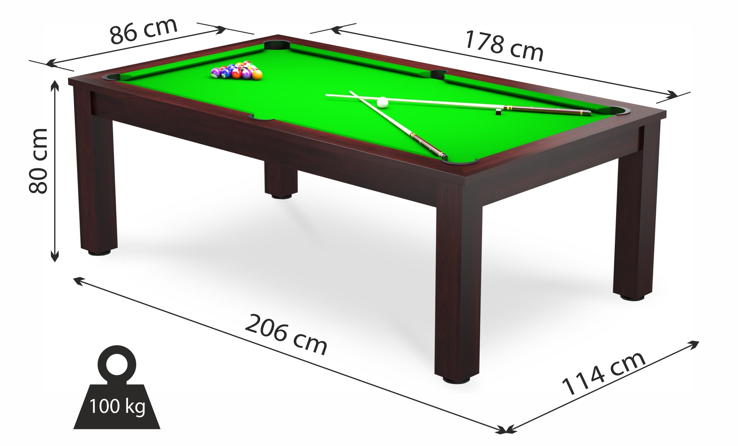 Die Abmessungen des Billardtisches und das Spielfeld